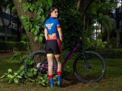 Macaquinho - MULHER MARAVILHA - Manga Curta - Macaquinho de Ciclismo