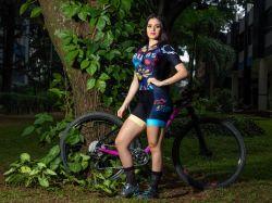 Macaquinho - Floral- Manga Curta - Macaquinho de Ciclismo