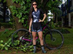 Macaquinho - Black White-Manga Curta - Macaquinho de Ciclismo